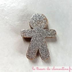 Magnet collection bonhomme pain d'épices pailleté argenté cadeau utile fait main pour petits et grands