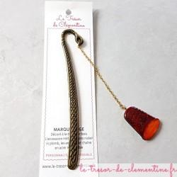 Marque-page décor dé à coudre rouge orange ton feu cadeau utile fait main