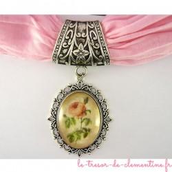 Bélière foulard avec rose ovale
