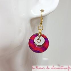 Boucle d'oreille artisanale chic ronde fushia violet scintillant, or et argent