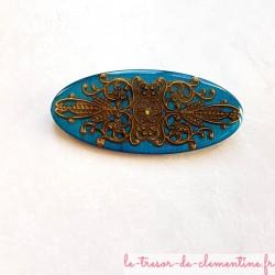 Grande Broche artisanale style incas baroque turquoise et bronze fait main