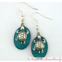 Boucles d'oreilles tortue de mer turquoise et argent