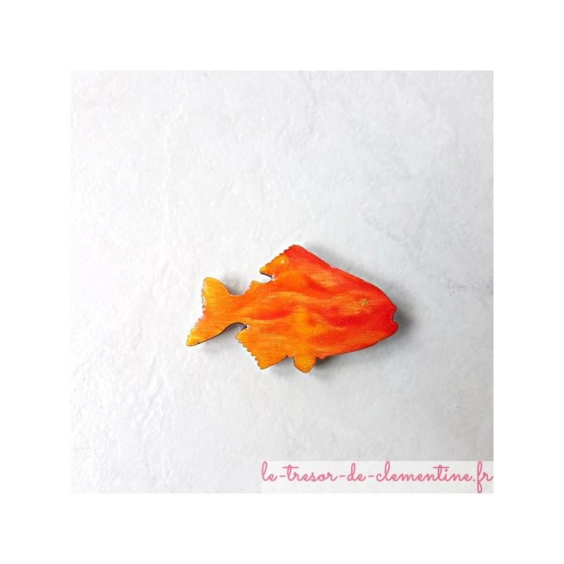 Offrez ce poisson orange à ton feu, magnet de collection cadeau utile et original aspect émail amoureux de la nature