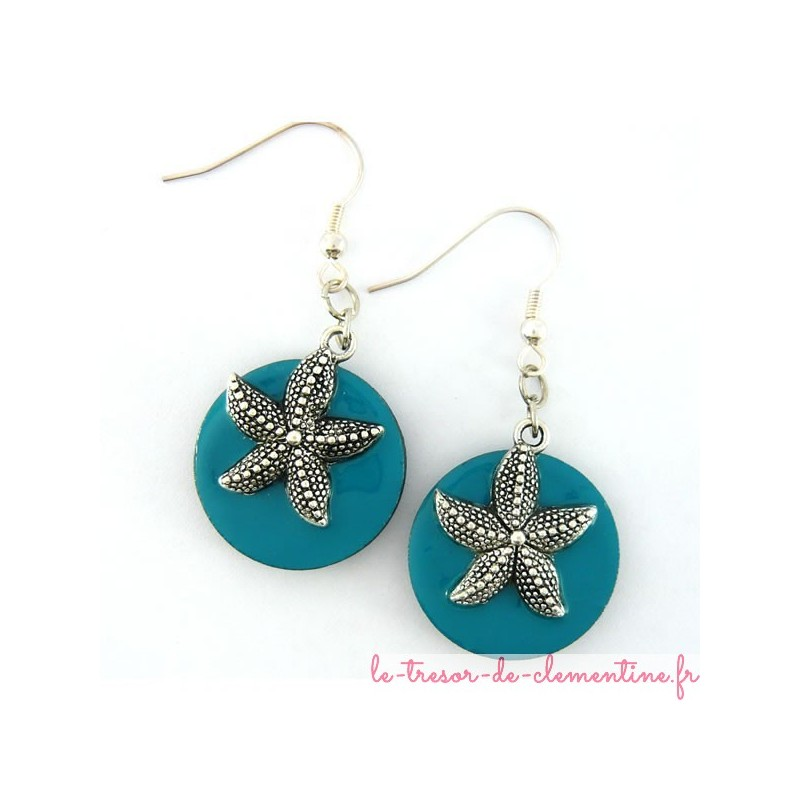 Boucles d'oreilles forme ovale décor étoile de mer turquoise et argent