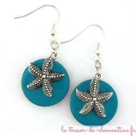 Boucles d'oreilles décor étoile de mer turquoise et argent forme ronde