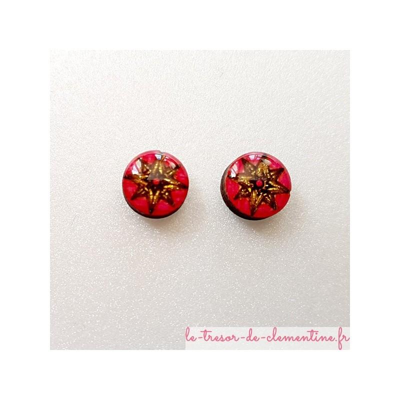 Puce ou bouton d'oreille rose des vents fushia doré et pailleté 12 mm fait main