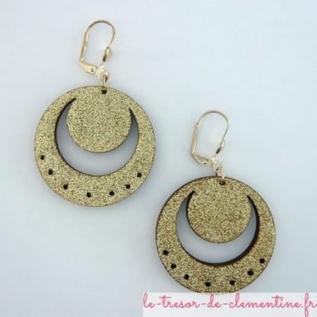 Boucles d'oreilles ronde décor de lune