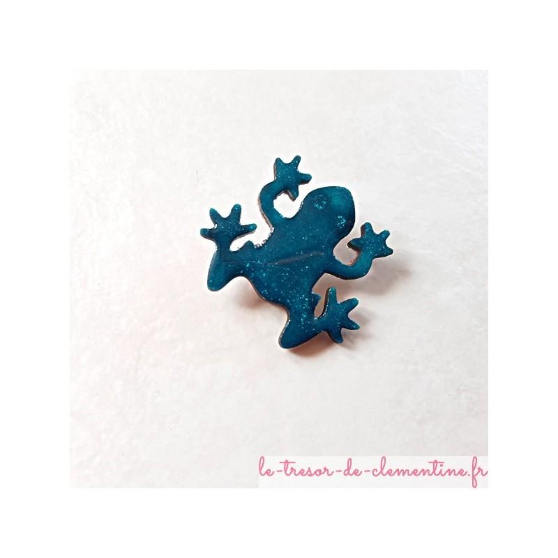 Broche artisanale grenouille turquoise et pailleté pour un cadeau plaisir fait main