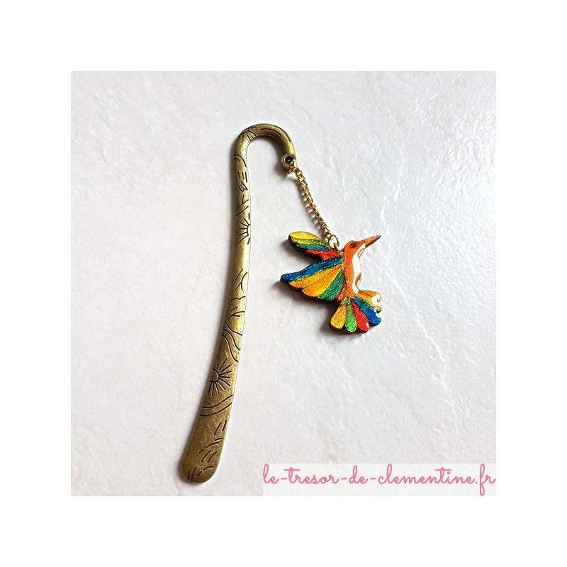 Marque-page oiseau Colibri multicolore et support bronze décor soleil, fait main cadeau utile et original