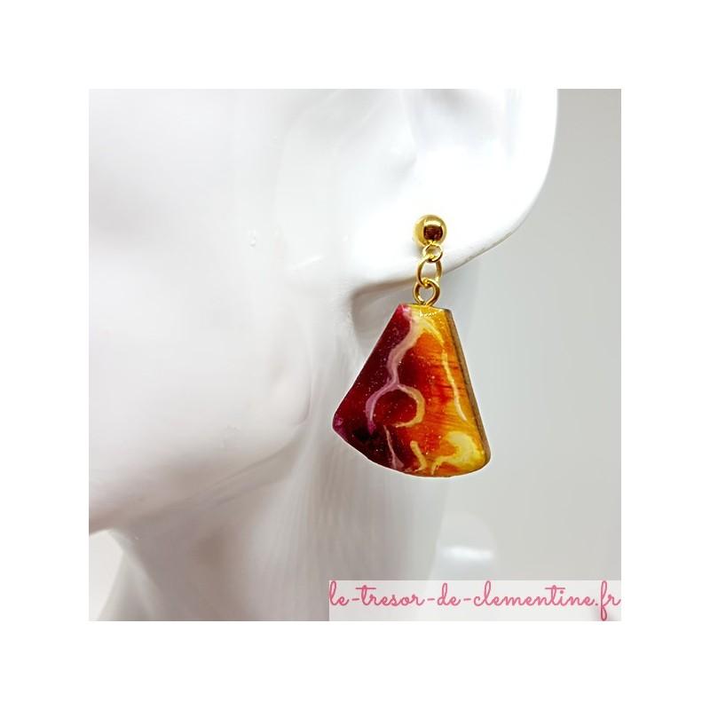 Boucle d'oreille artisanale femme chic tons feu et or triangle tronqué