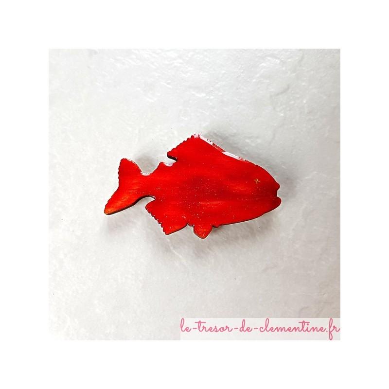 Offrez ce poisson rouge un magnet de collection cadeau utile et original en bois, couleurs profondes aspect émail