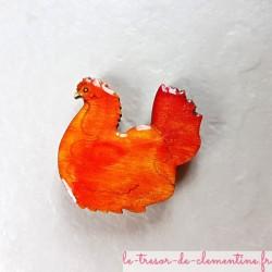 Magnet de collection forme Poule couveuse orange ton feu pour un cadeau utile et original