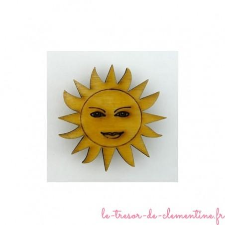 Magnet Soleil doré pailleté, ou doré transparent