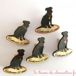 Labrador (chien), décor de table texte gravé et couleurs personnalisés