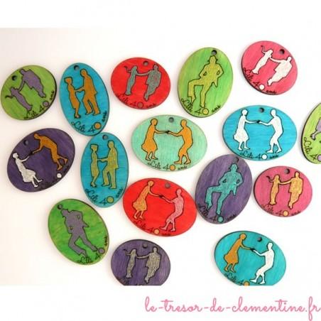 Danseurs décor de table texte gravé et couleurs personnalisés
