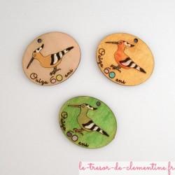 Huppes fasciées (oiseau) décor de table texte et couleurs personnalisés