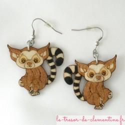Lémuriens en boucles d'oreilles grand modèle