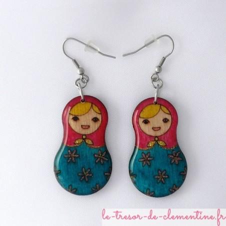 Poupée russe rose et bleue - boucles d'oreilles