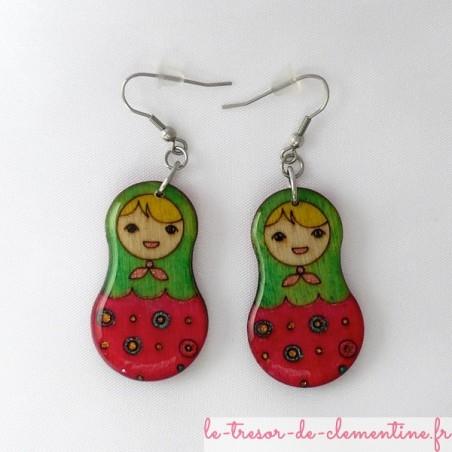 Poupée russe rose et vert - boucles d'oreilles
