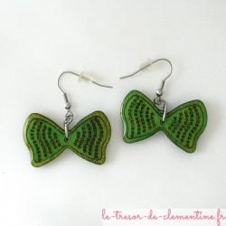 Noeud papillon vert - boucles d'oreilles