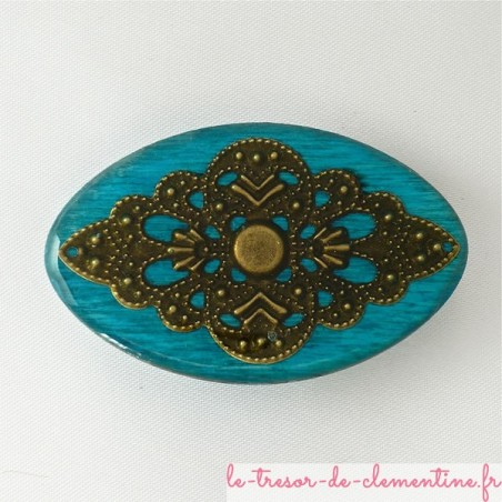 Broche baroque ovale turquoise