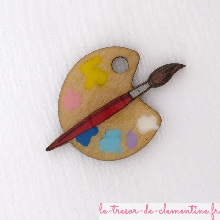 Broche palette pinceau rouge