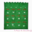 Calendrier de l'Avent pour Noël sac rouge