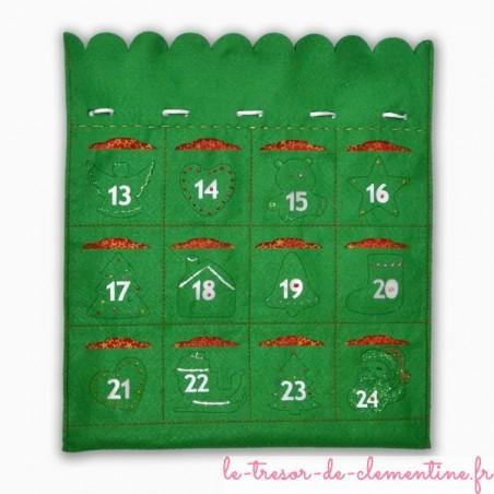 Calendrier de l'Avent pour Noël sac vert