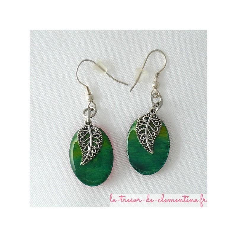 Boucles d'oreilles forme décor coquillage turquoise et argent