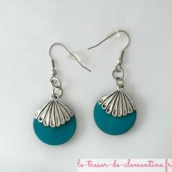 Boucles d'oreilles forme ronde décor coquille turquoise et argent