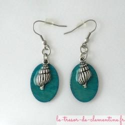 Boucles d'oreilles forme ovale décor coquillage turquoise et argent
