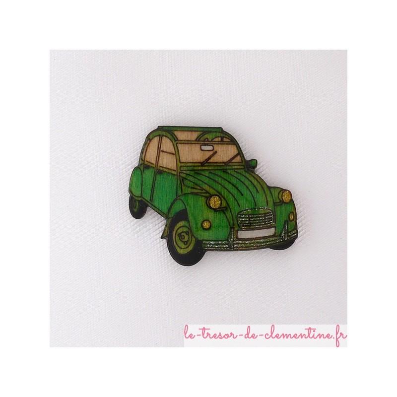 Broche 2 cv verte (voiture mythique)