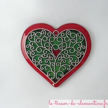 Broche coeur rose et vert style baroque