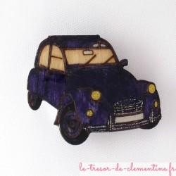 Broche 2 cv violet (voiture mythique)