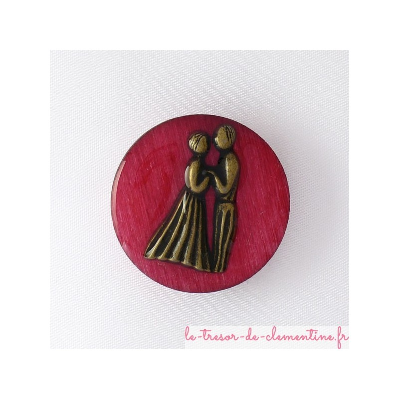 Broche couple de mariés rose