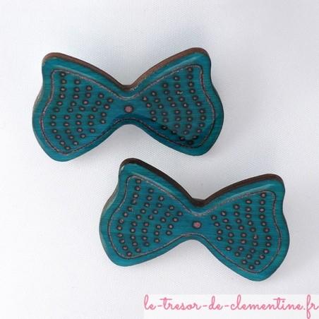 Barrettes noeud papillon bleu