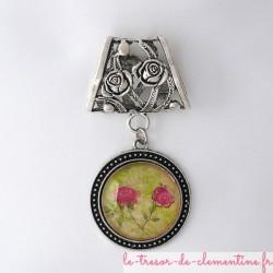 Bélière foulard avec roses argent
