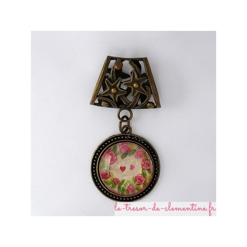 Bélière foulard avec roses bronze