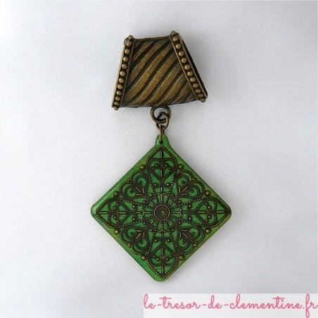 Bélière foulard losange vert baroque bronze