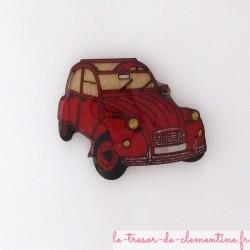Broche 2 cv rouge (voiture mythique)