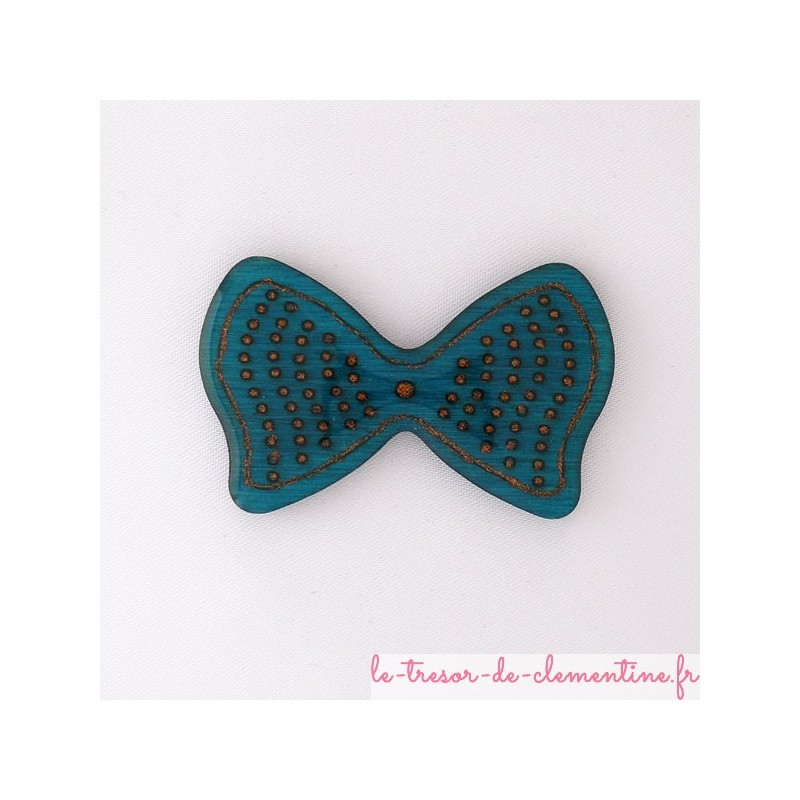Broche noeud papillon turquoise
