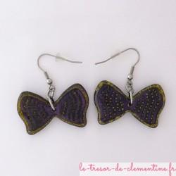 Noeud papillon violet - boucles d'oreilles