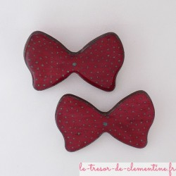 Barrettes noeud papillon rouge