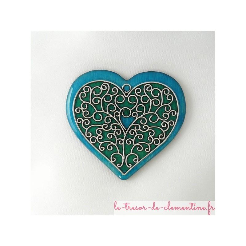 Broche coeur bleu et vert style baroque