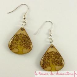 Boucles d'oreilles forme goutte d'eau décor arbre couleur doré