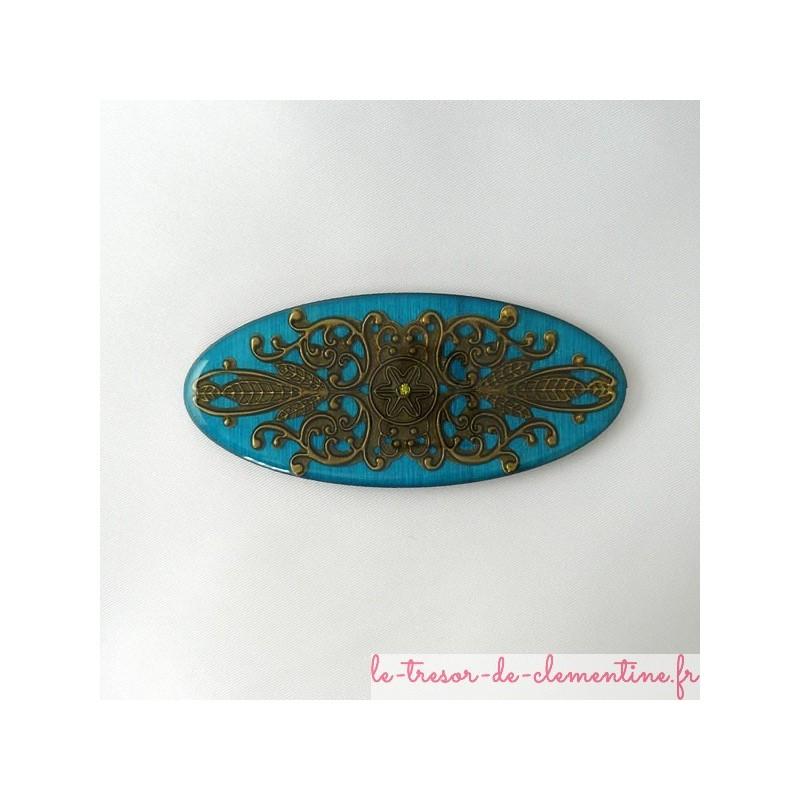 Broche originale, bijou fantaisie style inca filigrane, bijou très léger sur bois