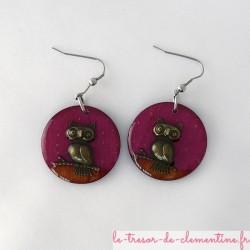 Chouette rose et bronze - boucles d'oreilles