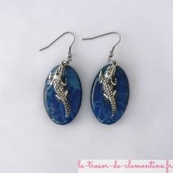 Crocodile turquoise metal - boucles d'oreilles