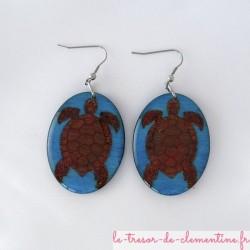 Tortue écaille turquoise - boucles d'oreilles