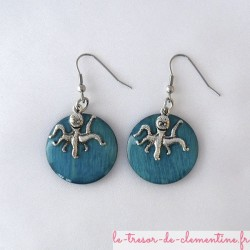Poulpe turquoise metal - boucles d'oreilles